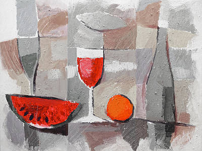 Melons Painting - Still Life Grey by Lutz Baar