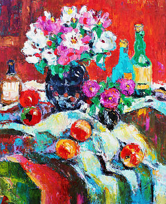 Pallet Knife Painting - Still Life In Studio With Blue Bottle by Becky Kim