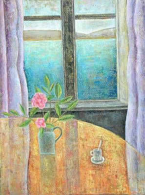 Interior Scene Photograph - Still Life In Window With Camellia, 2012, Oil On Canvas by Ruth Addinall