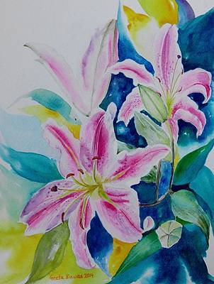 Lilium Painting - Still Life Lilies by Geeta Biswas