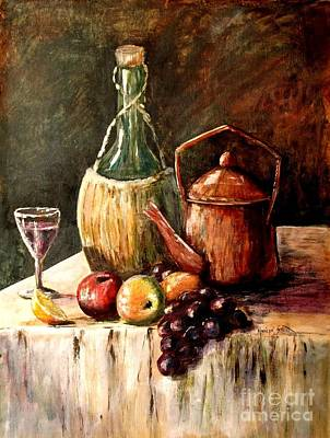 Wine Bottle Painting - Still Life by Marilyn Smith