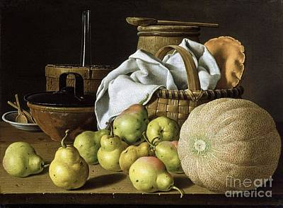 Still-life  Melon And Pears Print by Pg Reproductions