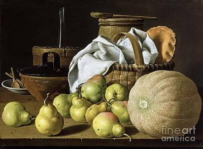 Still-life  Melon And Pears Art Print