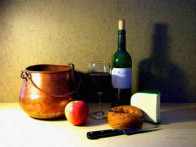 Photograph - Still Life Merlot And Copper Pot by Frank Wilson