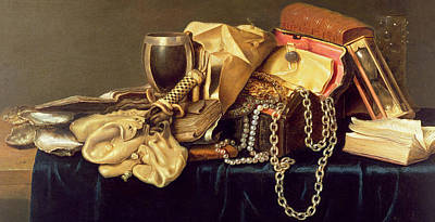 Gold Cloth Painting - Still Life Of A Jewellery Casket Books And Oysters by Andries Vermeulen
