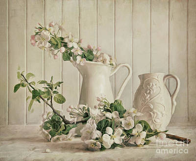 Photograph - Apple Blossom Flowers In Vase/digital Painting by Sandra Cunningham