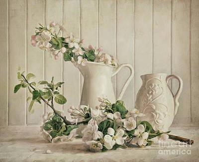 Stamen Digital Art - Apple Blossom Flowers In Vase/digital Painting by Sandra Cunningham