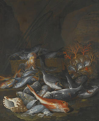 A Still Life Of A Fish Painting - Still Life Of Assorted Fish by Celestial Images