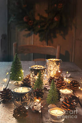 Photograph - Still Life Of Candles And Decorations For The Holidays by Sandra Cunningham