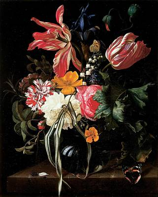 Carnations Photograph - Still Life Of Flowers, 1669 Oil On Canvas by Maria van Oosterwyck