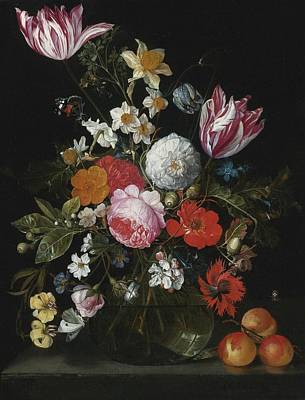 Heem Painting - Still Life Of Flowers In A Glass Vase by Celestial Images