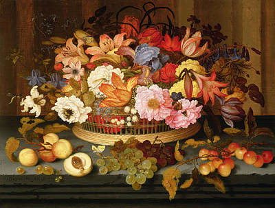 Still Life Of Fruit And A Basket Of Flowers, 1623 Oil On Panel Art Print by Balthasar van der Ast