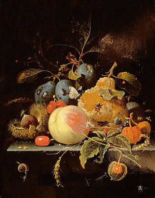 Corn Painting - Still Life Of Fruit And Nuts On A Stone by Abraham Mignon