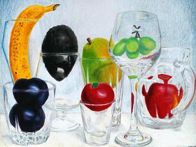 Still Life Of Fruit In Glasses Print by Christina Boyt