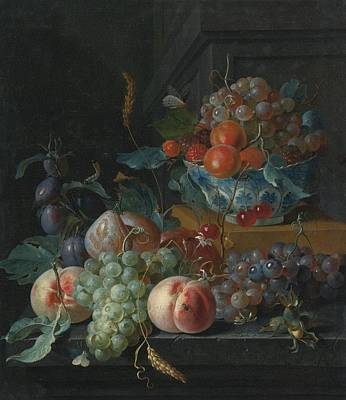 Still Life Of Fruit On A Ledge Art Print by Celestial Images
