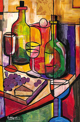 Still Life Of Fruit Wine And Cheese Art Print