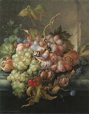 Painting - Still Life Of Fruit With Chestnuts And A Snail by Herman Henstenburg
