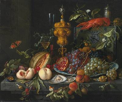 Heem Painting - Still Life Of Fruits  Nuts by Celestial Images