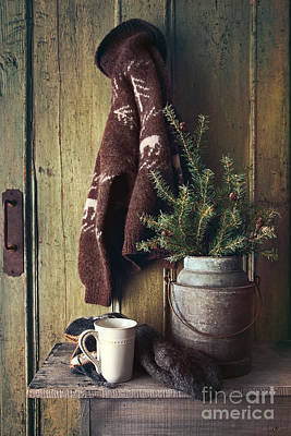 Photograph - Still Life Of Mug On Bench And Rustic Sweater by Sandra Cunningham