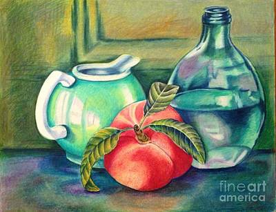 Still Life Of Peach Pitcher And Decanter Of Water Art Print