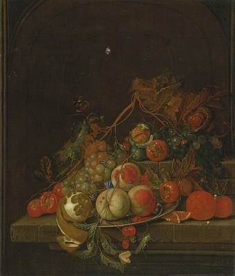 Heem Painting - Still Life Of Peaches by Celestial Images