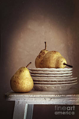 Photograph - Still Life Of Pears On Plates by Sandra Cunningham