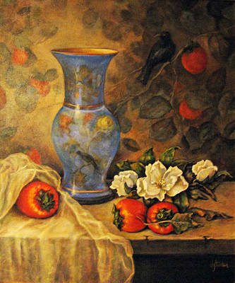 Still Life Of Persimmons  Art Print by Donna Tucker