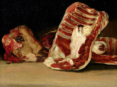 Still Life Of Sheep's Ribs And Head Art Print by Francisco Jose de Goya y Lucientes