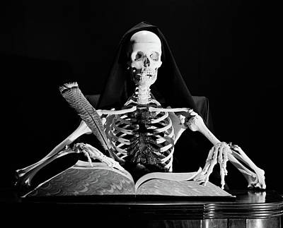 Ledger Books Wall Art - Photograph - Still Life Of Skeleton Writing In Large by Vintage Images