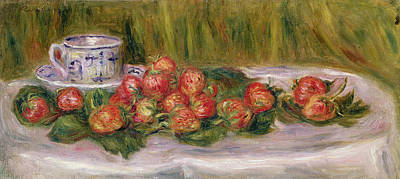 Tea And Coffee Painting - Still Life Of Strawberries And A Tea Cup by Pierre Auguste Renoir