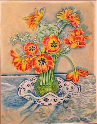 Still Life Of Tulips Art Print