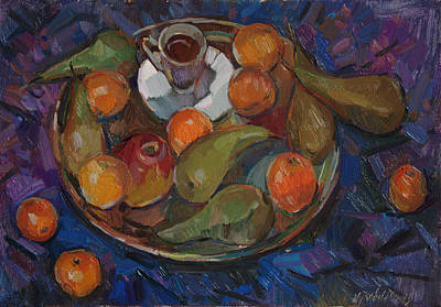 Still Life On A Tray Art Print by Juliya Zhukova