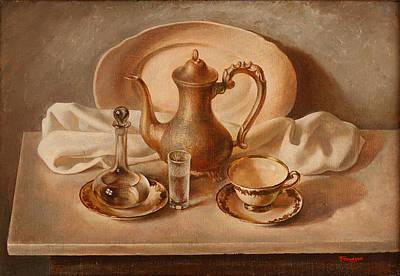 Teapot Painting - Still Life On Marble Slab by Felix Freudzon