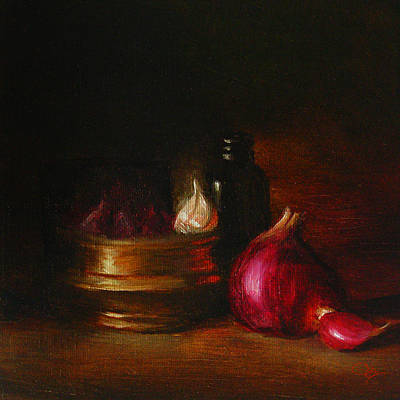 Still Life Painting - Still Life Onion With Brass by Jk