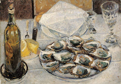 Half Shell Painting - Still Life Oysters by Gustave Caillebotte