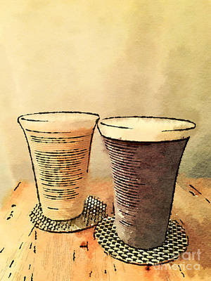 Painting - Still Life Pair Of Earthenware Ceramic Pottery Cups by Beverly Claire Kaiya