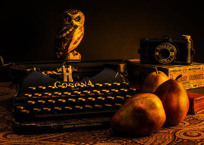 Typewriter Photograph - Still Life - Pears And Typewriter by Jon Woodhams