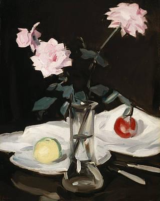 Scottish Colourist Painting - Still Life, Pink Roses by Samuel John Peploe