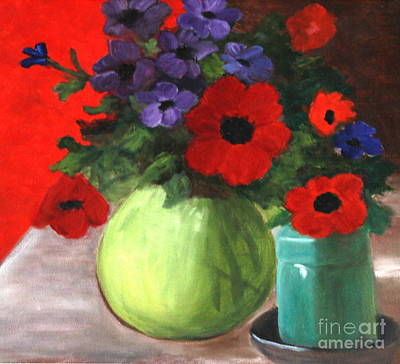 Still Life Poppies And Purple Things Art Print by Sherrill McCall