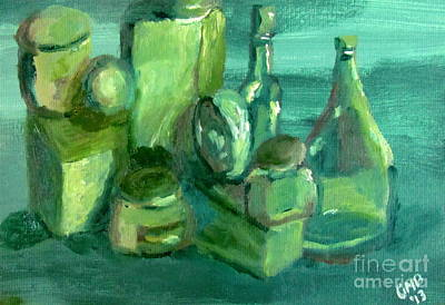 Bottles Painting - Still Life Study In Green by Greg Mason Burns