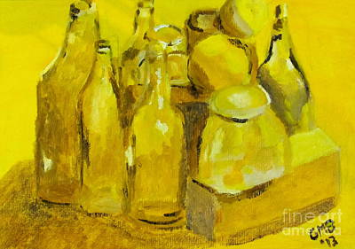 Boxes Painting - Still Life Study In Yellow by Greg Mason Burns