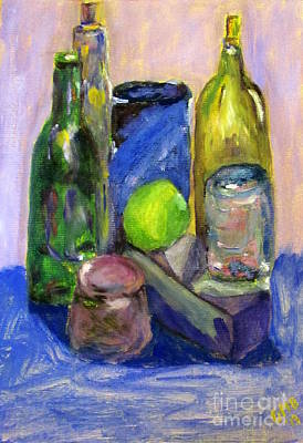 Jars Painting - Still Life Study With Violet Background by Greg Mason Burns
