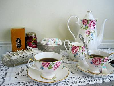 Roses Photograph - Still Life Tea Time With Royal Doulton by Margaret Newcomb