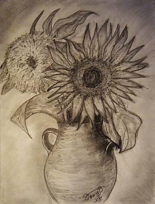 Still Life Drawings - Still Life Two Sunflowers in a Clay Vase by Jose A Gonzalez Jr