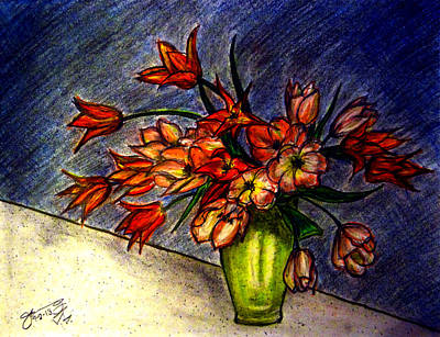 Still Life Drawings - Still Life Vase with 21 Orange Tulips by Jose A Gonzalez Jr
