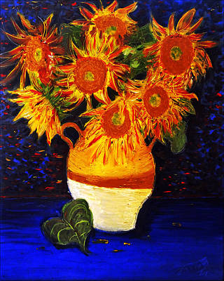 Still Life Drawings - Still Life - Vase with 7 Sunflowers by Jose A Gonzalez Jr