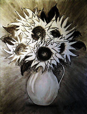 Still Life Drawings - Still Life - Yellow Vase with Six Sunflowers by Jose A Gonzalez Jr