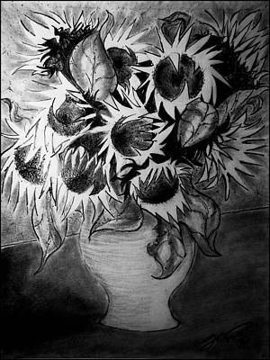 Still Life Drawings - Still Life - Vase with Ten Sunflowers by Jose A Gonzalez Jr