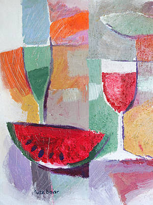 Red Wine Painting - Still Life Vintage by Lutz Baar