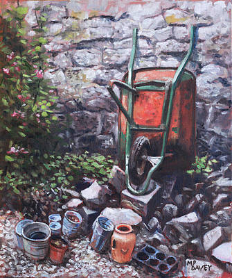 Outdoor Still Life Painting - Still Life Wheelbarrow With Collection Of Pots By Stone Wall by Martin Davey